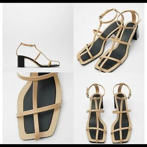 LEATHER HEELED T-BAR SANDALS